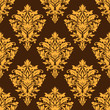 Brown damask seamless pattern