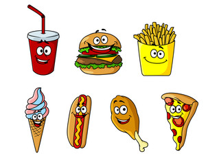 Set of happy cartoon takeaway food icons