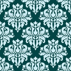 Ornate blue bold damask pattern