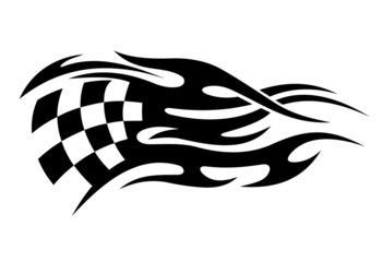 Black and white motor sports flag tattoo