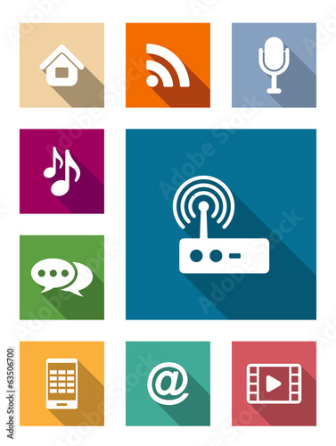 Set of flat media and communication icons
