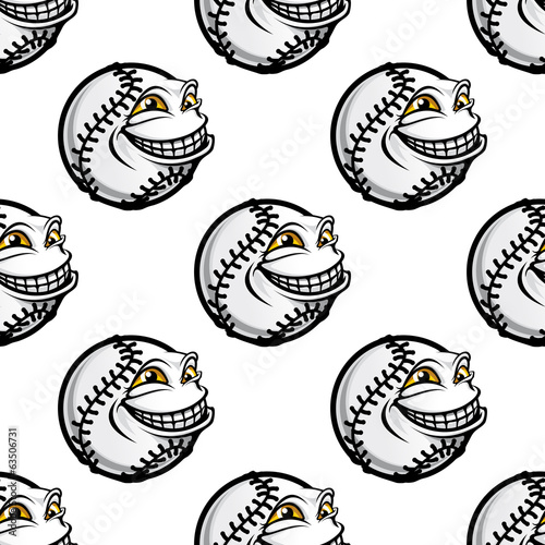 Funny cartoon baseball ball pattern