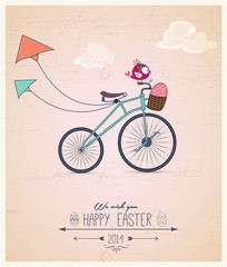 Birdy riding bike Easter greeting card