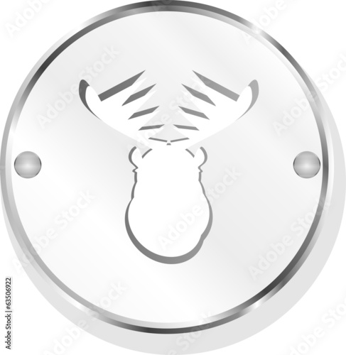 Deer head on web icon button isolated on white