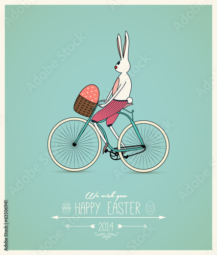 Easter funny bunny riding bike greeting card