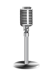 retro a microphone on a white background