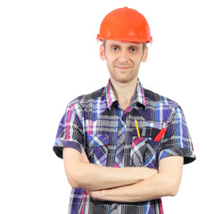 Smiling worker with orange helmet isolated on white