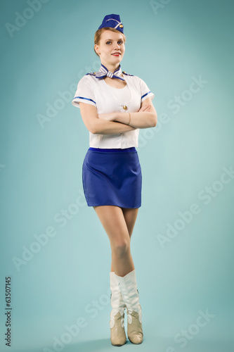 girl in stewardess uniform