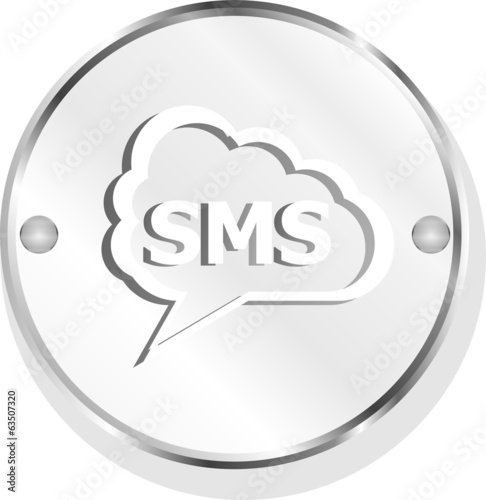 sms glossy web icon isolated on white background