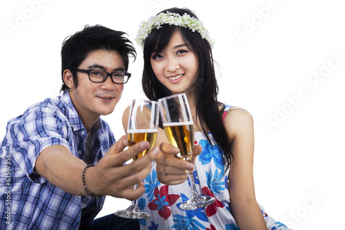 Happy couple with glasses of champagne
