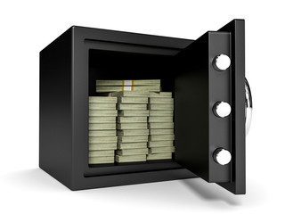 Opened safe with bank notes.