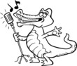 singing crocodile coloring page