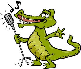 singing crocodile cartoon illustration