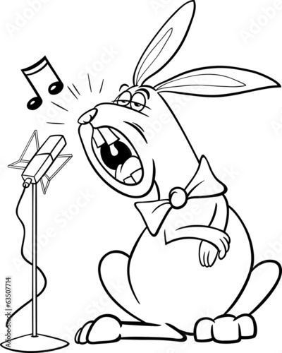 singing rabbit cartoon coloring page