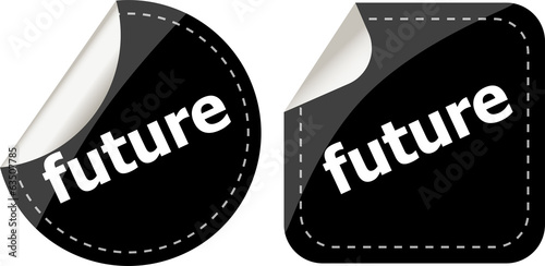 black future stickers set on white, icon button