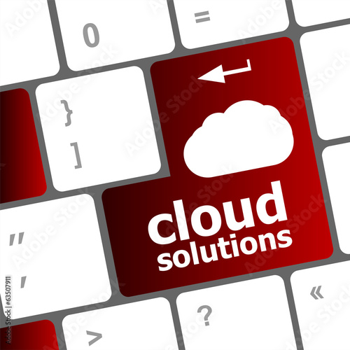 cloud solution words concept on button of the keyboard