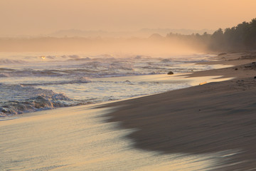 Sunrise on deserted beaches and coastline