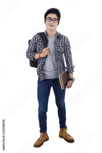 Male high school student isolated