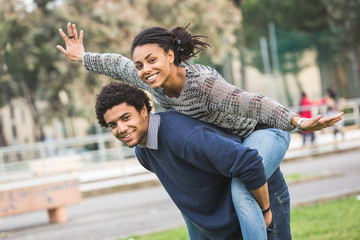 Mixed-Race Couple, Piggyback