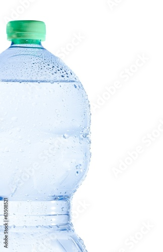 bottle with water and drops, concept of nutrition and diet