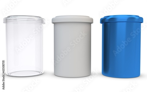 3d glass,plastic and metal jars on white background