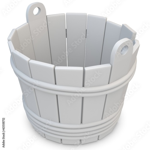 3d wooden empty bucket