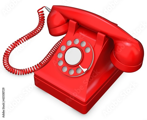 3d red old-fashioned phone