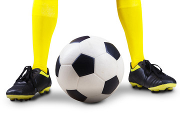 Soccer ball with player feet