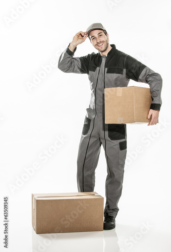 Portrait of a delivery man on isolated background