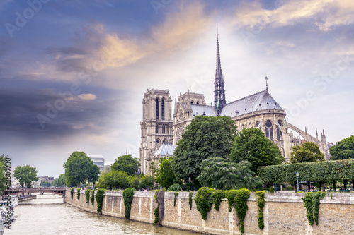 Beautiful sky over Notre Dame, Paris