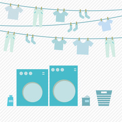 Laundry day, washing machine and cloth on hanger, vector illustr