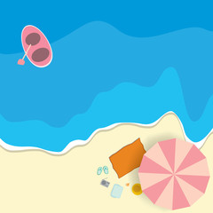 Top view of colourful beach with umbrella with boat