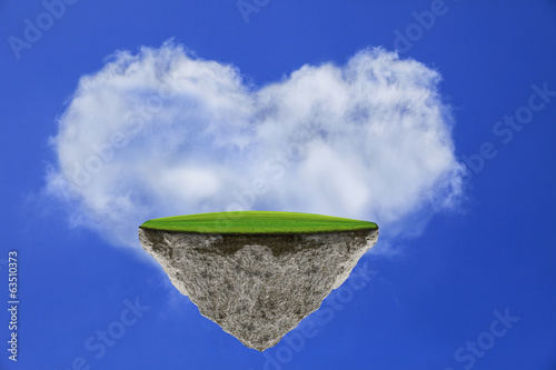 floating island against blue sky white cloud heart shape
