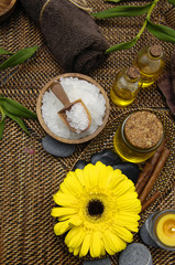 herbal salt in bowl and with yellow gerbera