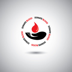 blood donation concept vector - hand & red blood drop