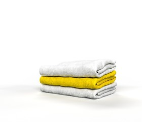 Towels White and Yellow