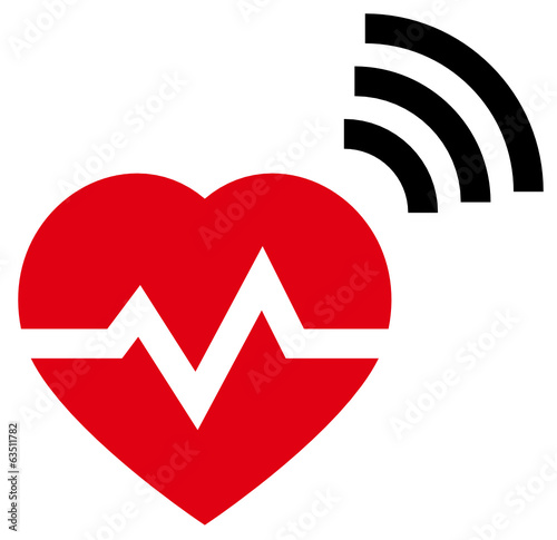 Red heart with rate and radio signal