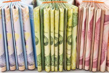 thai money banknotes closeup background