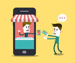 Shopping online, Online Store on smart phone. vector