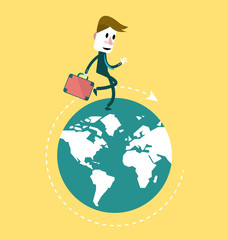 Businessman walking on the globe. vector