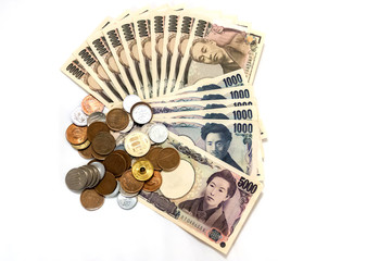 Japan money on white background