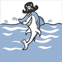 Pirate shark in sea