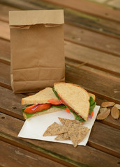 healthy back to school lunch with veggie sandwich