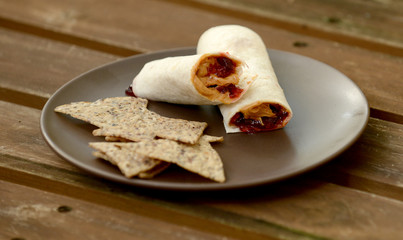 peanut butter and jelly wrap with chips