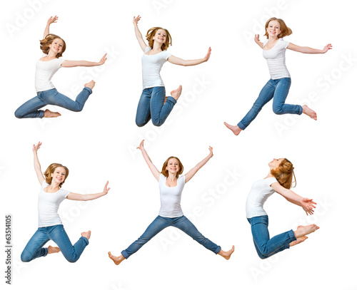 happy girl jumping isolated on white, collage, set