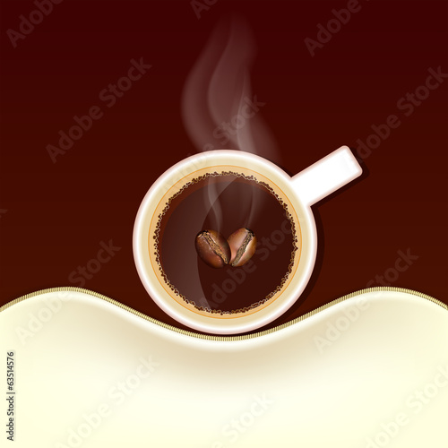 Cup of coffee with steam and coffee beans, top view