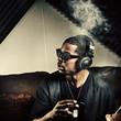 Leinwanddruck Bild - man in music studio smoking weed
