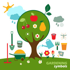 Set of gardening vector icons