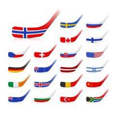 Ice hockey sticks with flags