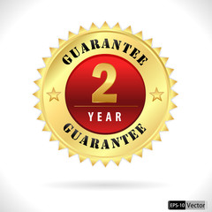 gold top quality 2 year guarantee badge- vector eps 10